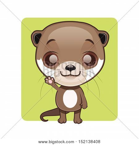 Cute otter illustration art with simple background