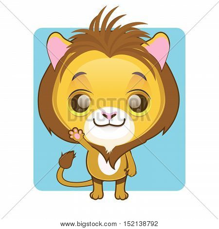 Cute lion illustration art with simple background
