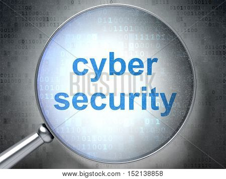 Safety concept: magnifying optical glass with words Cyber Security on digital background, 3D rendering