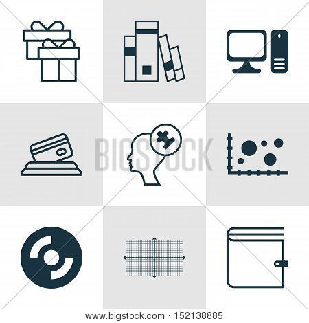 Set Of 9 Universal Editable Icons For Human Resources, Computer Hardware And Statistics Topics. Incl