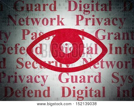 Privacy concept: Painted red Eye icon on Digital Data Paper background with  Tag Cloud