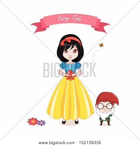 Illustration of snow white girl with a dwarf