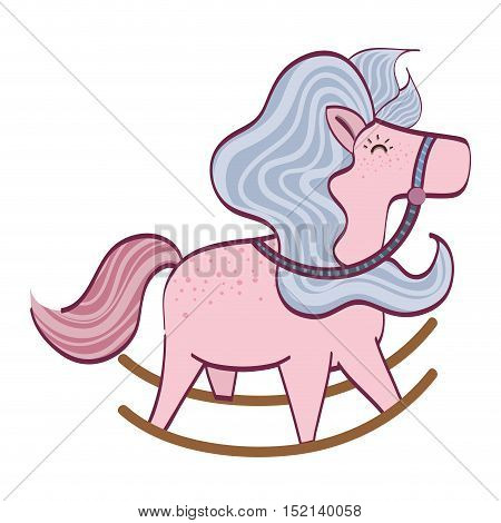 cute pink horse toy over white background. vector illustration