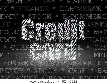 Banking concept: Glowing text Credit Card in grunge dark room with Dirty Floor, black background with  Tag Cloud