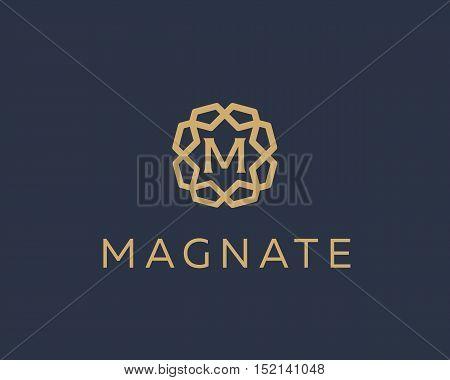 Premium letter M logo icon vector design. Luxury jewelry frame gem edge logotype. Print monogram initials stamp sign symbol