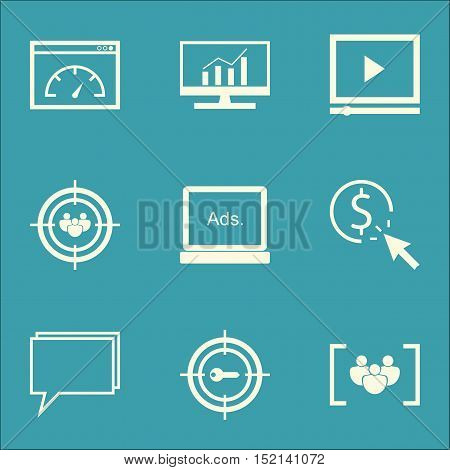 Set Of Seo Icons On Conference, Market Research And Ppc Topics. Editable Vector Illustration. Includ