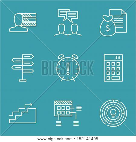 Set Of Project Management Icons On Opportunity, Discussion And Schedule Topics. Editable Vector Illu
