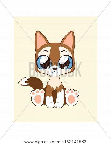 Cute dog illustration art in flat color