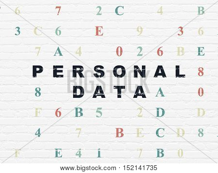 Information concept: Painted black text Personal Data on White Brick wall background with Hexadecimal Code