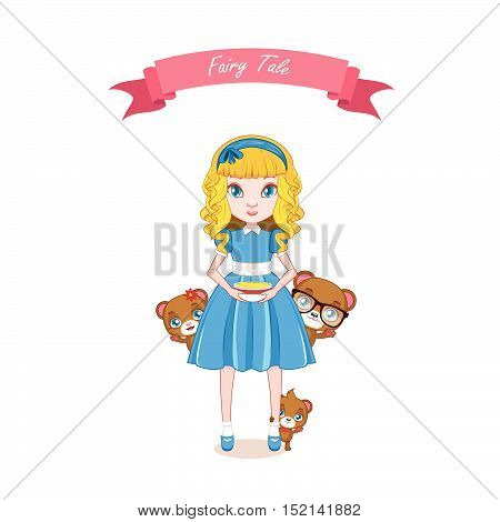 Illustration of gold haired girl holding porridge and with three bears on her side