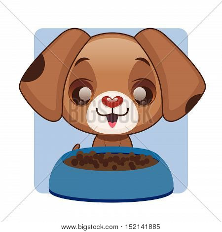 Cute brown puppy happy with food bowl