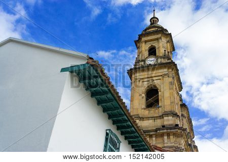Looking up at the cathedral in Bogota Colombia