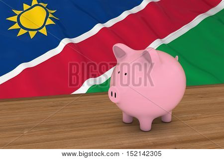 Namibia Finance Concept - Piggybank In Front Of Namibian Flag 3D Illustration