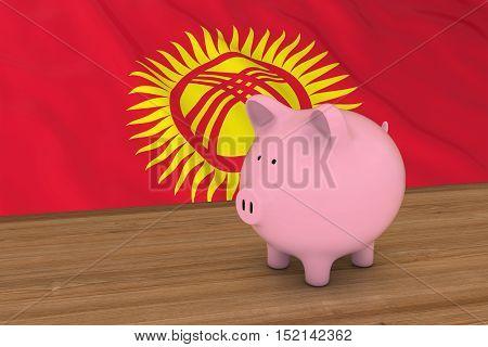 Kyrgyzstan Finance Concept - Piggybank In Front Of Kyrgyzstani Flag 3D Illustration