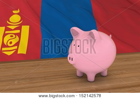 Mongolia Finance Concept - Piggybank In Front Of Mongolian Flag 3D Illustration