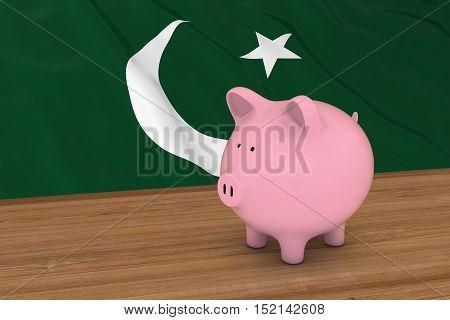 Pakistan Finance Concept - Piggybank In Front Of Pakistani Flag 3D Illustration