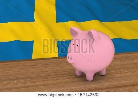 Sweden Finance Concept - Piggybank In Front Of Swedish Flag 3D Illustration