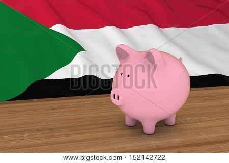 Sudan Finance Concept - Piggybank In Front Of Sudanese Flag 3D Illustration