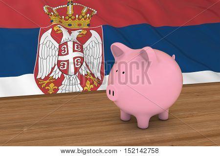 Serbia Finance Concept - Piggybank In Front Of Serbian Flag 3D Illustration