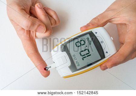 Diabetic Patient Is Monitoring Glucose Level From Blood From Fin