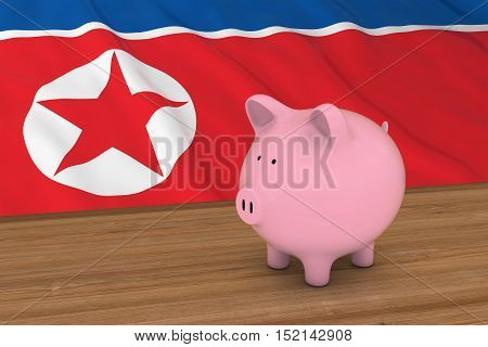 North Korea Finance Concept - Piggybank In Front Of North Korean Flag 3D Illustration