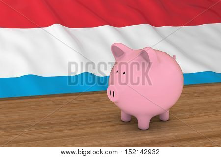 Luxembourg Finance Concept - Piggybank In Front Of Luxembourgish Flag 3D Illustration