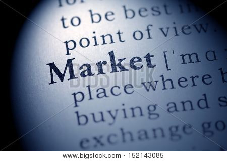 Fake Dictionary definition of the word market.