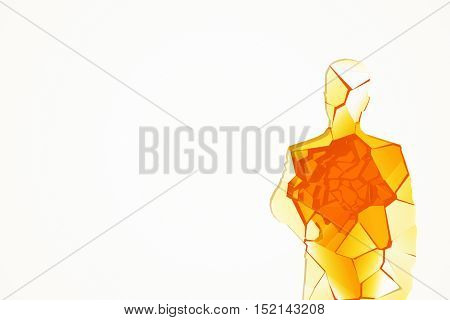Abstract shattered amber glass human figure on white background with copy space. 3D Rendering