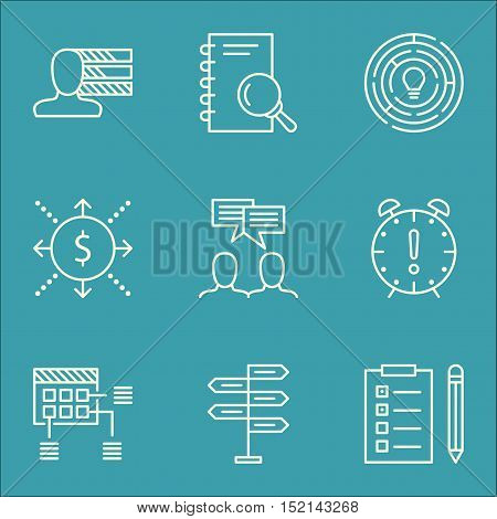 Set Of Project Management Icons On Analysis, Money And Time Management Topics. Editable Vector Illus