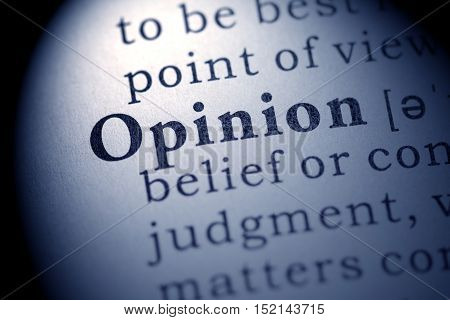 Fake Dictionary definition of the word opinion.