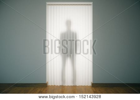 Standing man silhouette behind curtains in modern unfurnished interior. 3D Rendering