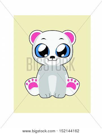 Cute polar bear illustration in flat color