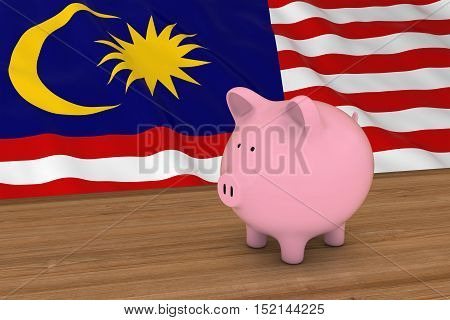 Malaysia Finance Concept - Piggybank In Front Of Malaysian Flag 3D Illustration