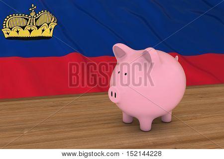 Liechtenstein Finance Concept - Piggybank In Front Of Liechtenstein Flag 3D Illustration