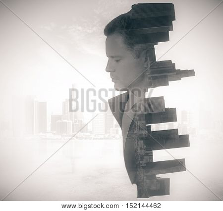 Side view of businessman and city on abstract light background with copy space. Double exposure
