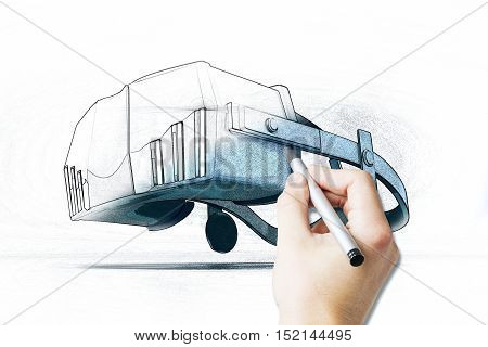 Male hand drawing virtual reality simulator on light background. 3D Rendering