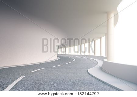 Modern road tunnel. 3D Rendering. Close up.