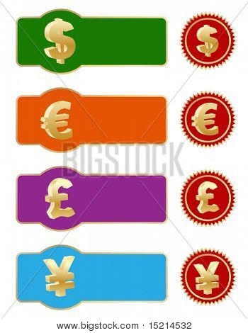 web banners and stickers with money sign