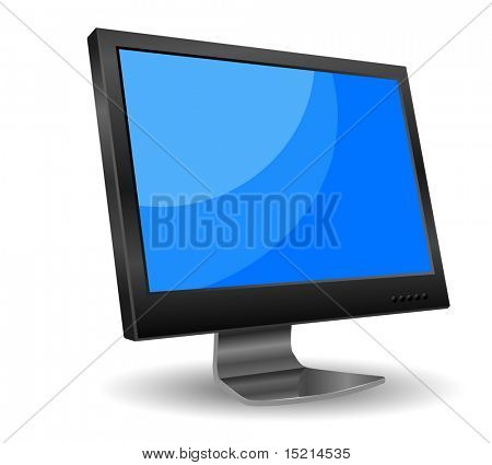vector lcd computer monitor with blue screen