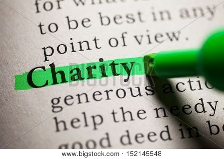 Fake Dictionary definition of the word Charity.