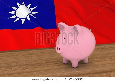 Taiwan Finance Concept - Piggybank In Front Of Taiwanese Flag 3D Illustration