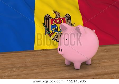 Moldova Finance Concept - Piggybank In Front Of Moldovan Flag 3D Illustration