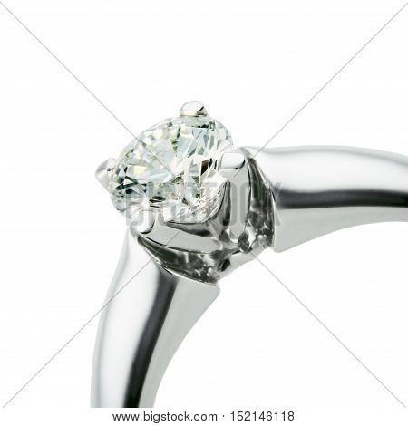 Ring from white gold with diamond a close up