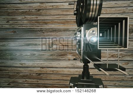 Front view of retro movie projector on wooden background with copy space. 3D Rendering. Cinema concept