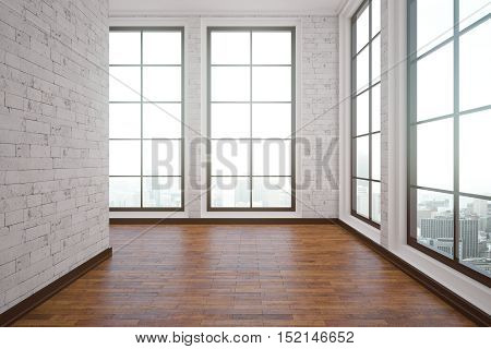 Unfurnished interior with wooden floor white brick walls and city view. 3D Rendering