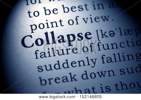 Fake Dictionary Dictionary definition of the word Collapse.