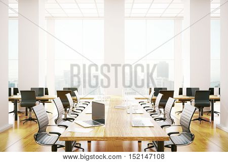 Contemporary conference room interior with equipment and city view. 3D Rendering