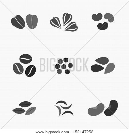 Various seeds collection black icons. Graphic illustration