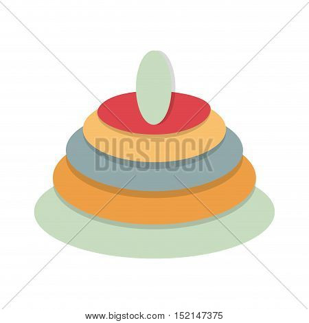 colorful pyramid baby toy over white background. vector illustration