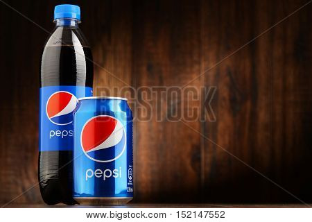 POZNAN POLAND - OCT 13 2016: Pepsi is a carbonated soft drink produced and manufactured by PepsiCo. The beverage was created and developed in 1893 under the name Brad's Drink